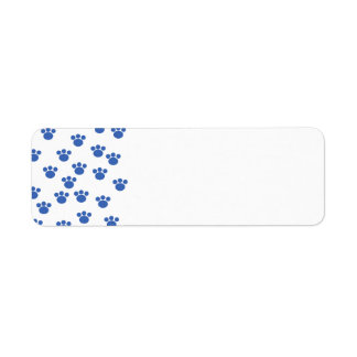 Animal Paw Print Pattern. Blue and White. Return Address Label
