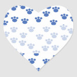 Animal Paw Print Pattern. Blue and White. Heart Sticker
