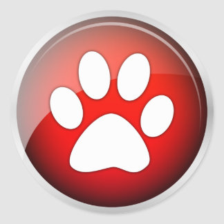 Animal Paw Print Red Icon (pack of 6/20) Classic Round Sticker