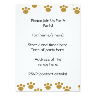 Animal Paw Prints. Brown and White Pattern. 17 Cm X 22 Cm Invitation Card