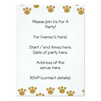 Animal Paw Prints. Brown and White Pattern. Custom Invite