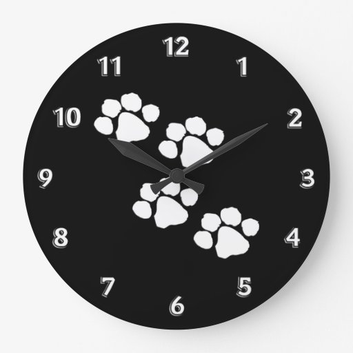 Animal Paw Prints Round Wall Clock