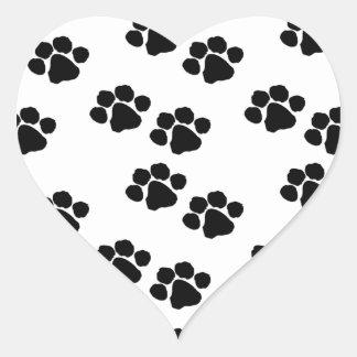 Animal Paw Prints Heart Sticker