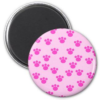 Animal Paw Prints. Light Pink and Bright Pink. Fridge Magnet