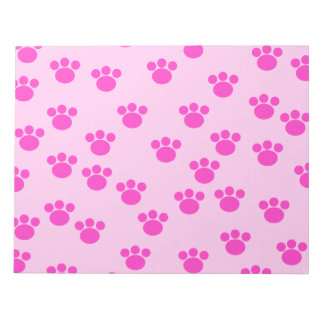 Animal Paw Prints. Light Pink and Bright Pink. Notepads