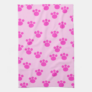 Animal Paw Prints. Light Pink and Bright Pink. Tea Towel