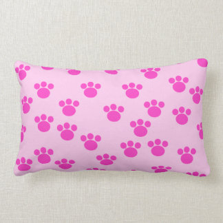 Animal Paw Prints. Light Pink and Bright Pink. Throw Cushions