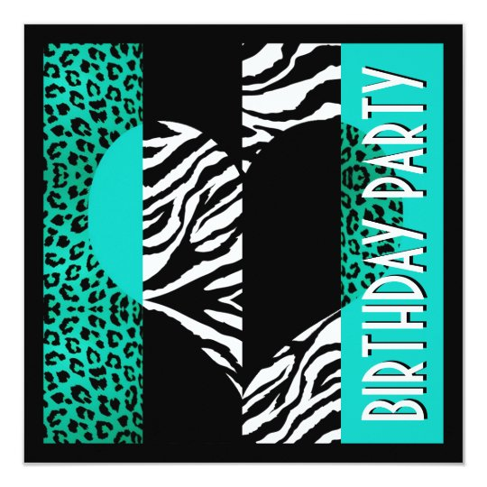 Animal Print Aqua Blue Leopard Black & White Zebra Card