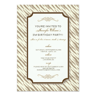 Animal Print Birthday Party Invitation (chocolate)