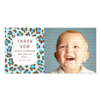 Animal Print Blue - Any Occasion Thank you Customized Photo Card