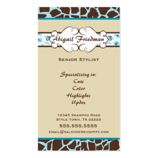 Animal Print Business Card: Blue