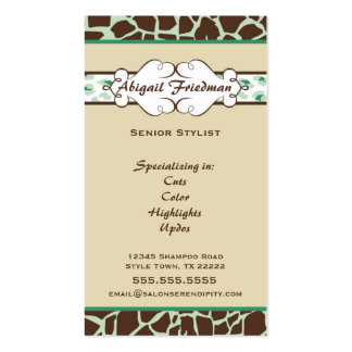 Animal Print Business Card: Green