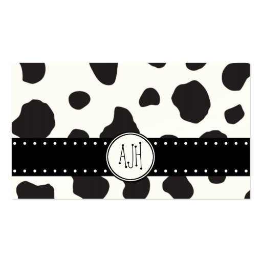 Animal Print (Cow Print), Cow Spots - Black Green Business Card Templates