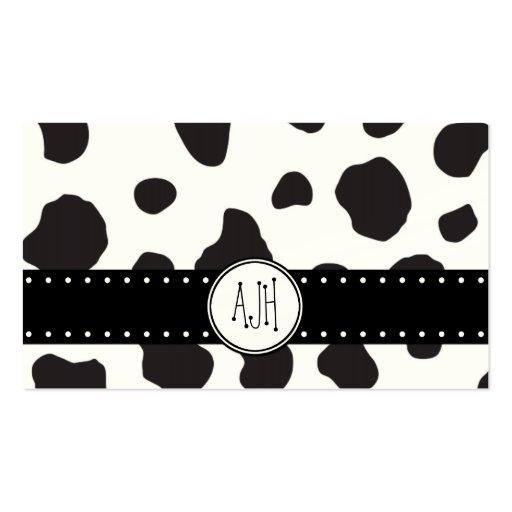 Animal Print (Cow Print), Cow Spots - Black Green Business Card Templates