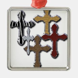 Animal Print Crosses Silver Texture Ornaments