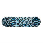 Animal Print Fur Skin Wild Leopard Blue Black Skate Decks