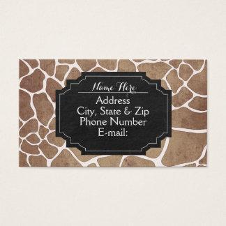 Animal Print Giraffe Chalkboard Business Cards