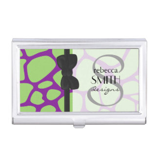 Animal Print (Giraffe Pattern) - Purple Green Business Card Holder