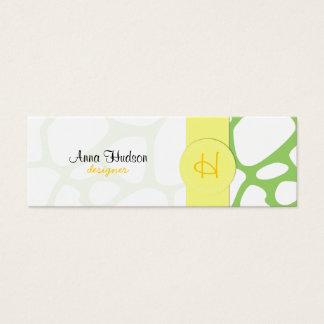 Animal Print (Giraffe Pattern) - White Green Mini Business Card