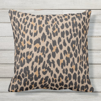 Animal Print, Leopard Spots - Brown Black Outdoor Cushion