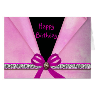 Animal Print Pink & Black Folded Sweet 16 Card