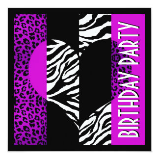 Animal Print Purple Leopard Black and White Zebra 13 Cm X 13 Cm Square Invitation Card