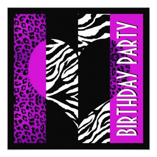 Animal Print Purple Leopard Black and White Zebra Invitations