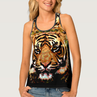 Animal print tiger face singlet