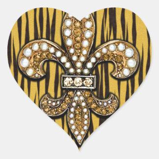 Animal Print Tiger Fleur Di Lis Jewel Heart Sticker