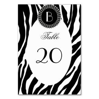 Animal Print Zebra Pattern and Monogram Card
