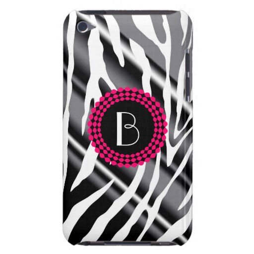 Animal Print Zebra Pattern and Monogram Barely There iPod Cover