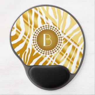 Animal Print Zebra Pattern and Monogram Gel Mouse Pad