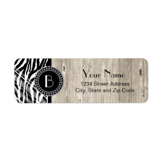 Animal Print Zebra Pattern and Monogram Return Address Label