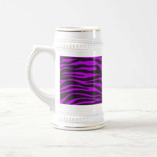 Animal Print, Zebra Stripes - Black Purple Mug