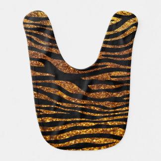 Animal Print, Zebra Stripes, Glitter - Black Gold Bib