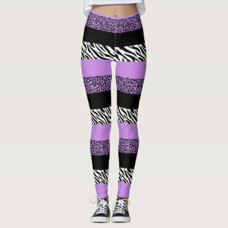 Animal Print, Zebra Stripes, Leopard - Purple Leggings