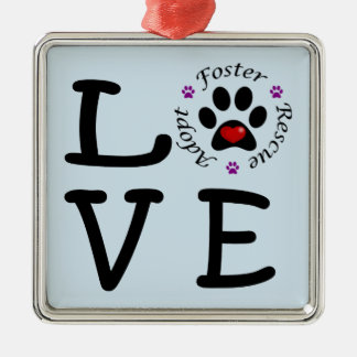 Animal Rescue Love Premium Square Ornament