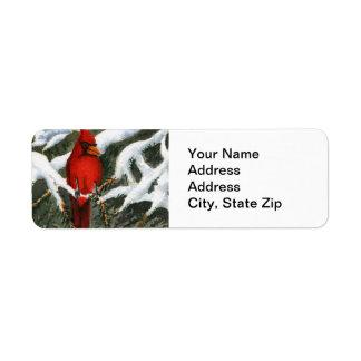 Animal Return Address Label Cardinal red bird