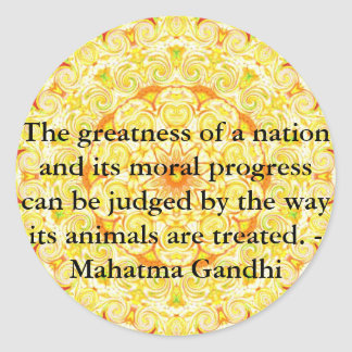 animal rights quote - Mahatma Gandhi Classic Round Sticker