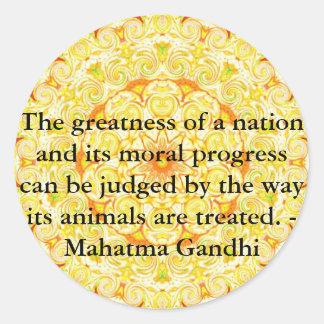 animal rights quote - Mahatma Gandhi Round Sticker