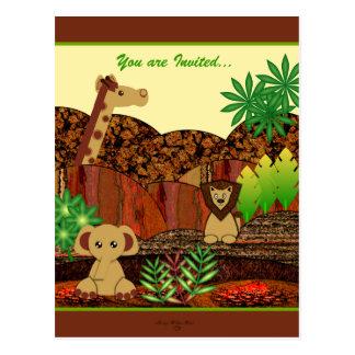 Animal Safari Baby Shower Postcard