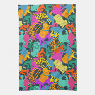 Animal Silhouettes Pattern Tea Towel
