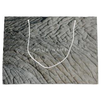 Animal Skin Brown Abstract Elephant Gray Silver Large Gift Bag