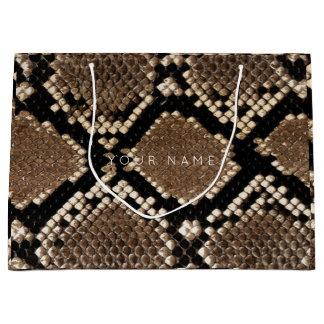 Animal Skin Brown Abstract Python Black White Large Gift Bag