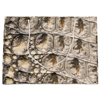 Animal Skin Crocodile Brown Abstract Gray Brown Large Gift Bag
