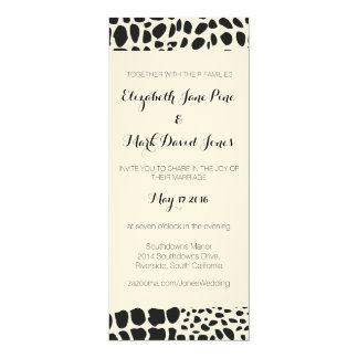 Animal Skin in Black and White 10 Cm X 24 Cm Invitation Card