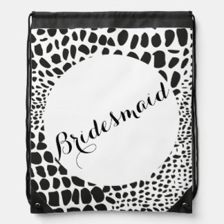 Animal Skin in Black and White Drawstring Bag