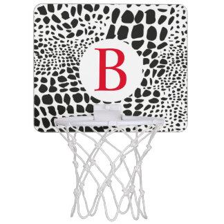 Animal Skin in Black and White Mini Basketball Hoop