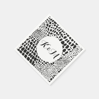 Animal Skin in Black and White Paper Napkin