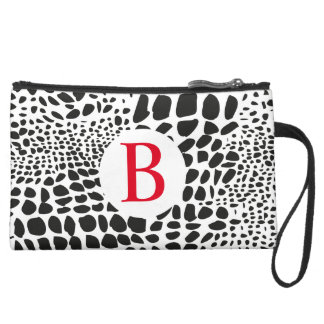 Animal Skin in Black and White Suede Wristlet